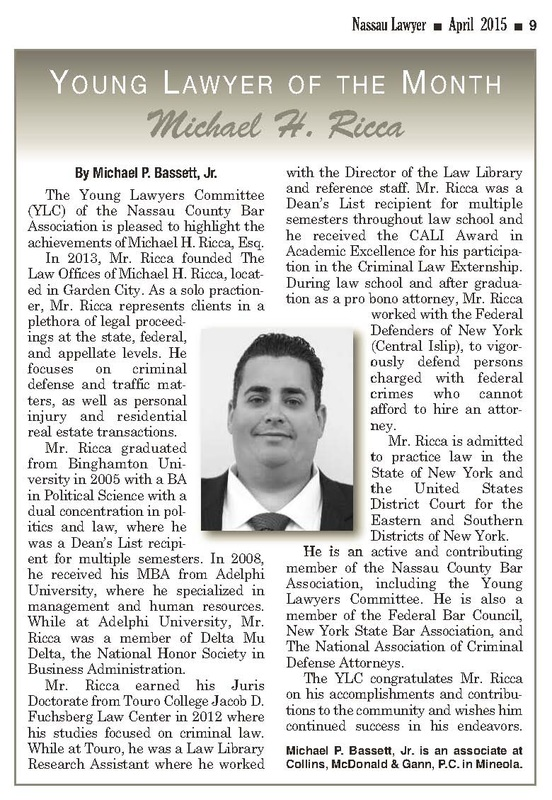 Nassau Bar Young Lawyers Committee Names Michael H. Ricca Young Lawyer Of The Month